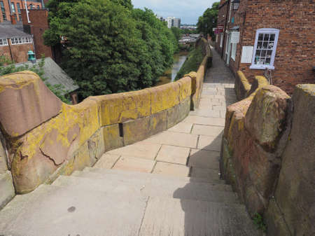 chester: Ancient Roman City walls in Chester, UK Editorial