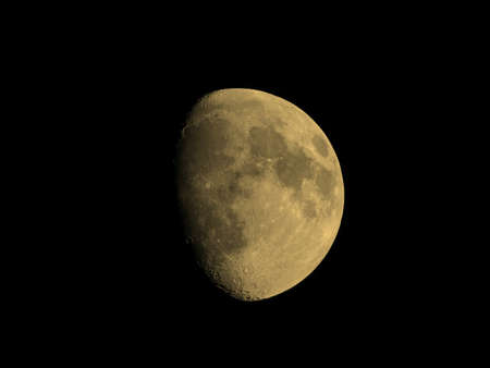 waxing gibbous: Waxing gibbous moon over dark sky at night vintage sepia