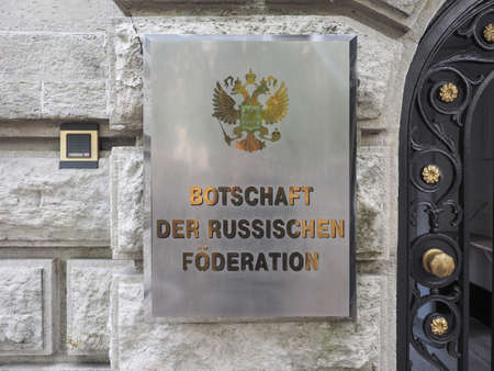 the federation: BERLIN, GERMANY - CIRCA JUNE 2016: Russian Embassy sign. The text means Embassy of  Russian Federation Editorial