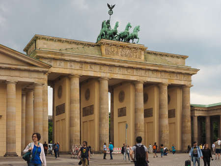 brandenburg gate: BERLIN, GERMANY - CIRCA JUNE 2016: Tourists in front of Brandenburger Tor meaning Brandenburg Gate