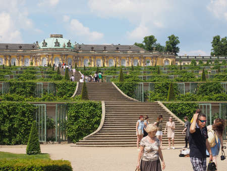frederick: POTSDAM, GERMANY - CIRCA JUNE 2016: Tourists visiting the Schloss Sanssouci royal summer palace of Frederick the Great King of Prussia