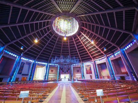 christ: LIVERPOOL, UK - CIRCA JUNE 2016: Liverpool Metropolitan Cathedral aka Metropolitan Cathedral of Christ the King designed by Sir Frederick Ernest Gibberd in 1967