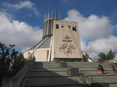 christ the king: LIVERPOOL, UK - CIRCA JUNE 2016: Liverpool Metropolitan Cathedral aka Metropolitan Cathedral of Christ the King designed by Sir Frederick Ernest Gibberd in 1967
