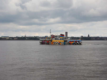 mersey: LIVERPOOL, UK - CIRCA JUNE 2016: Ferry across the Mersey river