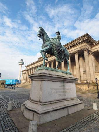 queen victoria: LIVERPOOL, UK - CIRCA JUNE 2016: Queen Victoria equestrial statue in front of St George Hall
