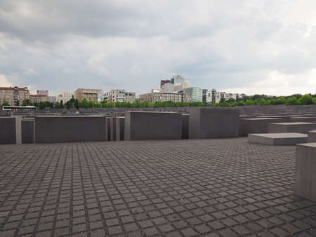 holocaust: BERLIN, GERMANY - CIRCA JUNE 2016: Denkmal fuer die ermordeten Juden Europas meaning Holocaust Memorial to the Murdered Jews of Europe Editorial