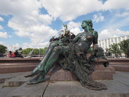 neptuno: BERLIN, GERMANY - CIRCA JUNE 2016: Neptunbrunnen meaning Neptune fountain in Alexanderplatz Editorial