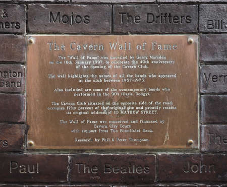 played: LIVERPOOL, UK - CIRCA JUNE 2016: The Wall of Fame at the Cavern Pub opposite the Cavern Club where The Beatles played