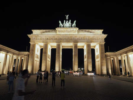 brandenburg gate: BERLIN, GERMANY - CIRCA JUNE 2016: Tourists at Brandenburger Tor (meaning Brandenburg Gate) at night