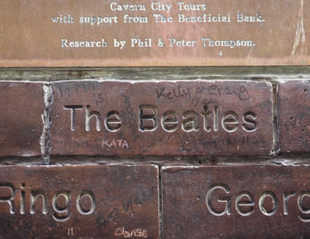 the beatles: LIVERPOOL, UK - CIRCA JUNE 2016: The Wall of Fame at the Cavern Pub opposite the Cavern Club where The Beatles played