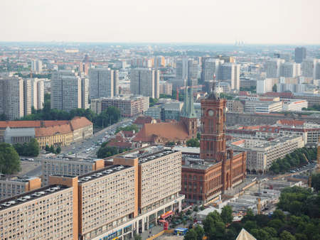 municipal editorial: BERLIN, GERMANY - CIRCA JUNE 2016: Aerial view of the city from Alexanderplatz