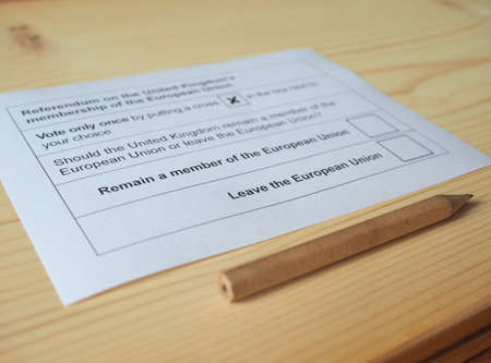 ballot paper: LONDON, UK - CIRCA MAY 2016: Ballot paper for June 23 referendum: Should the United Kingdom remain a member of the European Union or leave. The poll is aka Brexit meaning Britain exit Editorial
