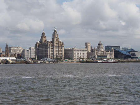 lancashire: LIVERPOOL, UK - CIRCA JUNE 2016: Skyline view of the waterfront on River Mersey