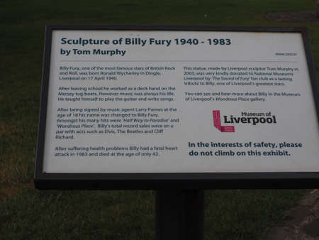fury: LIVERPOOL, UK - CIRCA JUNE 2016: Monument to Billy Fury, famous star of British rock and roll