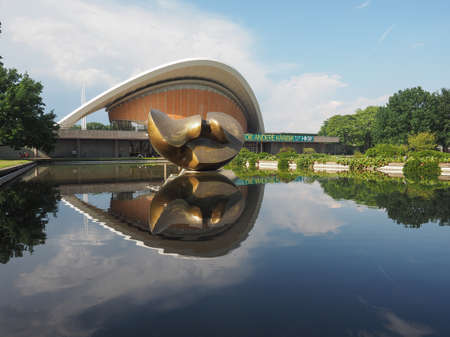 hugh: BERLIN, GERMANY - CIRCA JUNE 2016: Haus der Kulturen der Welt meaning House of the Cultures of the World in Tiergarten park designed in 1957 by Hugh Stubbins for the Interbau exhibition