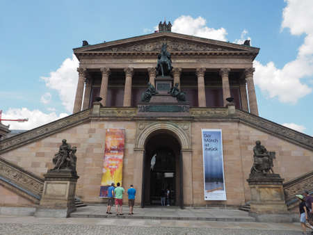 alte: BERLIN, GERMANY - CIRCA JUNE 2016: The Alte Nationalgalerie (meaning Old National Gallery) in the Museumsinsel (meaning Museums Island)