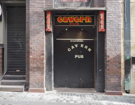 the beatles: LIVERPOOL, UK - CIRCA JUNE 2016: The Cavern Club nightclub at 10 Mathew Street where The Beatles played
