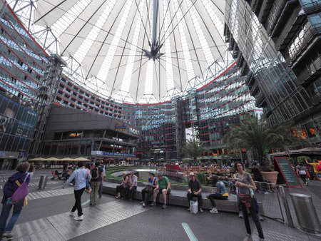 BERLIN, GERMANY - CIRCA JUNE 2016: Sony Center in Potsdamer Platz designed by Helmut Jahn
