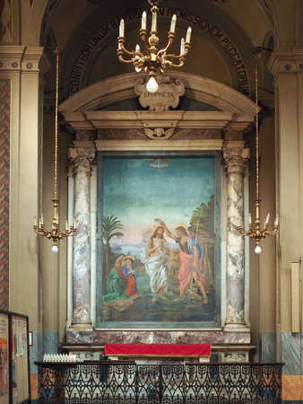 conception: TURIN, ITALY - CIRCA JUNE 2016: Baptismal font in San Donato Immacolata Concezione (meaning Immaculate Conception) church Editorial
