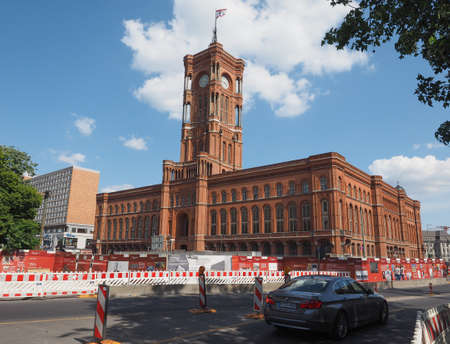 municipal editorial: BERLIN, GERMANY - CIRCA JUNE 2016: Rotes Rathaus meaning The Red Town Hall