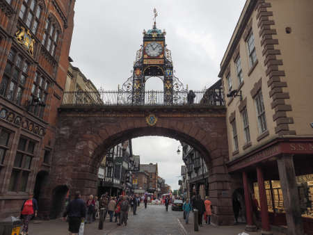 chester: CHESTER, UK - CIRCA JUNE 2016: View of the old city centre
