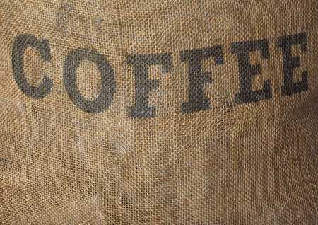 hessian: Detail of hessian sack bag of roasted coffee Stock Photo