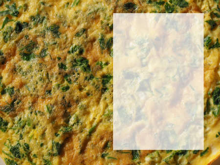adding: Omelette with beaten eggs fried with parsley and cilantro herbs - With copy space for adding your own text