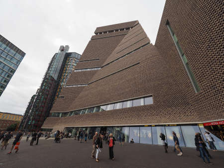 powerstation: LONDON, UK - CIRCA JUNE 2016: The Switch House at Tate Modern art gallery in South Bank power station