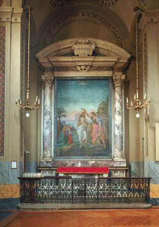 immaculate conception: TURIN, ITALY - CIRCA JUNE 2016: Baptismal font in San Donato Immacolata Concezione (meaning Immaculate Conception) church Editorial