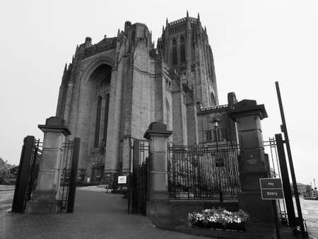 risen christ: Liverpool Cathedral aka Cathedral Church of Christ or Cathedral Church of the Risen Christ on St James Mount in Liverpool, UK in black and white