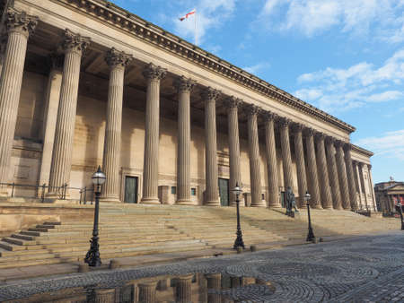 St George Hall concert halls and law courts on Lime Street in Liverpool, UK