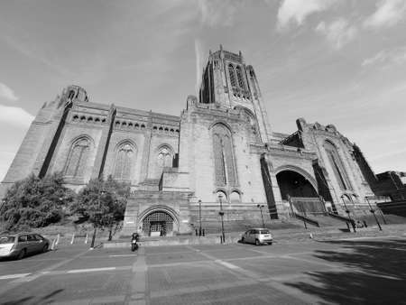gilbert: Liverpool Cathedral aka Cathedral Church of Christ or Cathedral Church of the Risen Christ on St James Mount in Liverpool, UK in black and white
