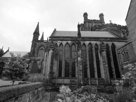 anglican: Chester Anglican Cathedral church in Chester, UK in black and white