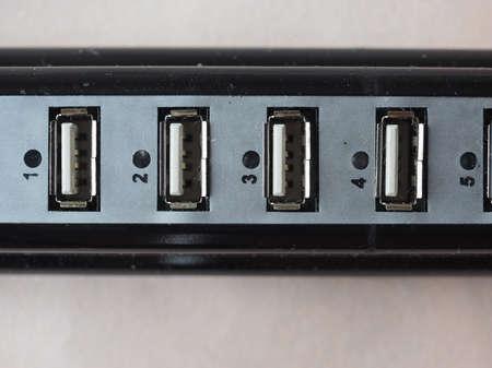 hub computer: Detail of many USB ports on a computer port multiplier hub Stock Photo