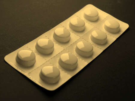 over the counter: Pharmaceutical over the counter or prescription pills - vintage sepia look