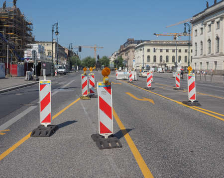 den: BERLIN, GERMANY - CIRCA JUNE 2016: Road works in Unter den Linden boulevard