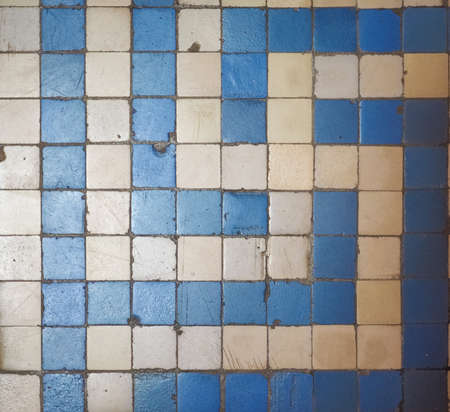 mosaic floor: Blue and white mosaic floor tiles texture useful as a background
