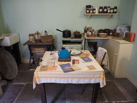 merseyside: LIVERPOOL, UK - CIRCA JUNE 2016: Interior of wartime house kitchen at Merseyside Maritime Museum in the Albert Dock Editorial