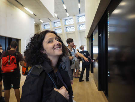 powerstation: LONDON, UK - CIRCA JUNE 2016: Woman visiting the newly opened Switch House at Tate Modern art gallery in South Bank power station
