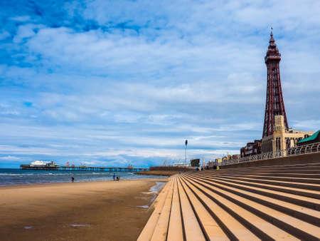 lancashire: BLACKPOOL, UK - CIRCA JUNE 2016: Blackpool Pleasure Beach resort and Blackpool Tower on the Fylde coast in Lancashire - high dynamic range Editorial