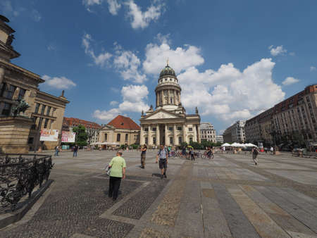 concert hall: BERLIN, GERMANY - CIRCA JUNE 2016: Gendarmenmarkt square site of the Konzerhaus (meaning Concert Hall) and the French and German churches