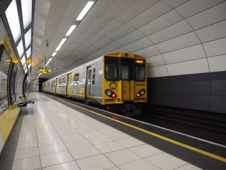 blur subway: LIVERPOOL, UK - CIRCA JUNE 2016: Subway trains in Liverpool. Motion blur on train. Editorial
