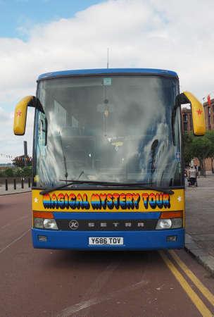 the beatles: LIVERPOOL, UK - CIRCA JUNE 2016: The Beatles Magical Mystery Tour bus