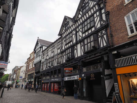 chester: CHESTER, UK - CIRCA JUNE 2016: Medieval Chester Rows