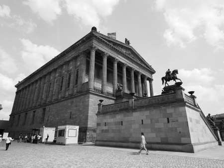 alte: BERLIN, GERMANY - CIRCA JUNE 2016: The Alte Nationalgalerie (meaning Old National Gallery) in the Museumsinsel (meaning Museums Island) in black and white