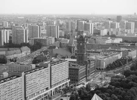 municipal editorial: BERLIN, GERMANY - CIRCA JUNE 2016: Aerial view of the city from Alexanderplatz in black and white