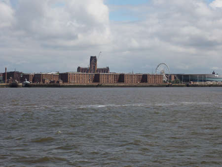 mersey: LIVERPOOL, UK - CIRCA JUNE 2016: Skyline view of the waterfront on River Mersey