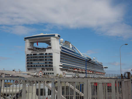 liverpool: LIVERPOOL, UK - CIRCA JUNE 2016: Hamilton Caribbean Princess cruise ship at Liverpool harbour