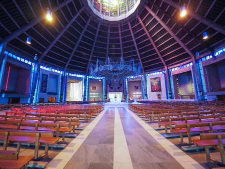 sir: LIVERPOOL, UK - CIRCA JUNE 2016: Liverpool Metropolitan Cathedral aka Metropolitan Cathedral of Christ the King designed by Sir Frederick Ernest Gibberd in 1967