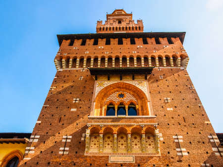 castello: High dynamic range HDR Castello Sforzesco (Sforza Castle) in Milan Italy Editorial